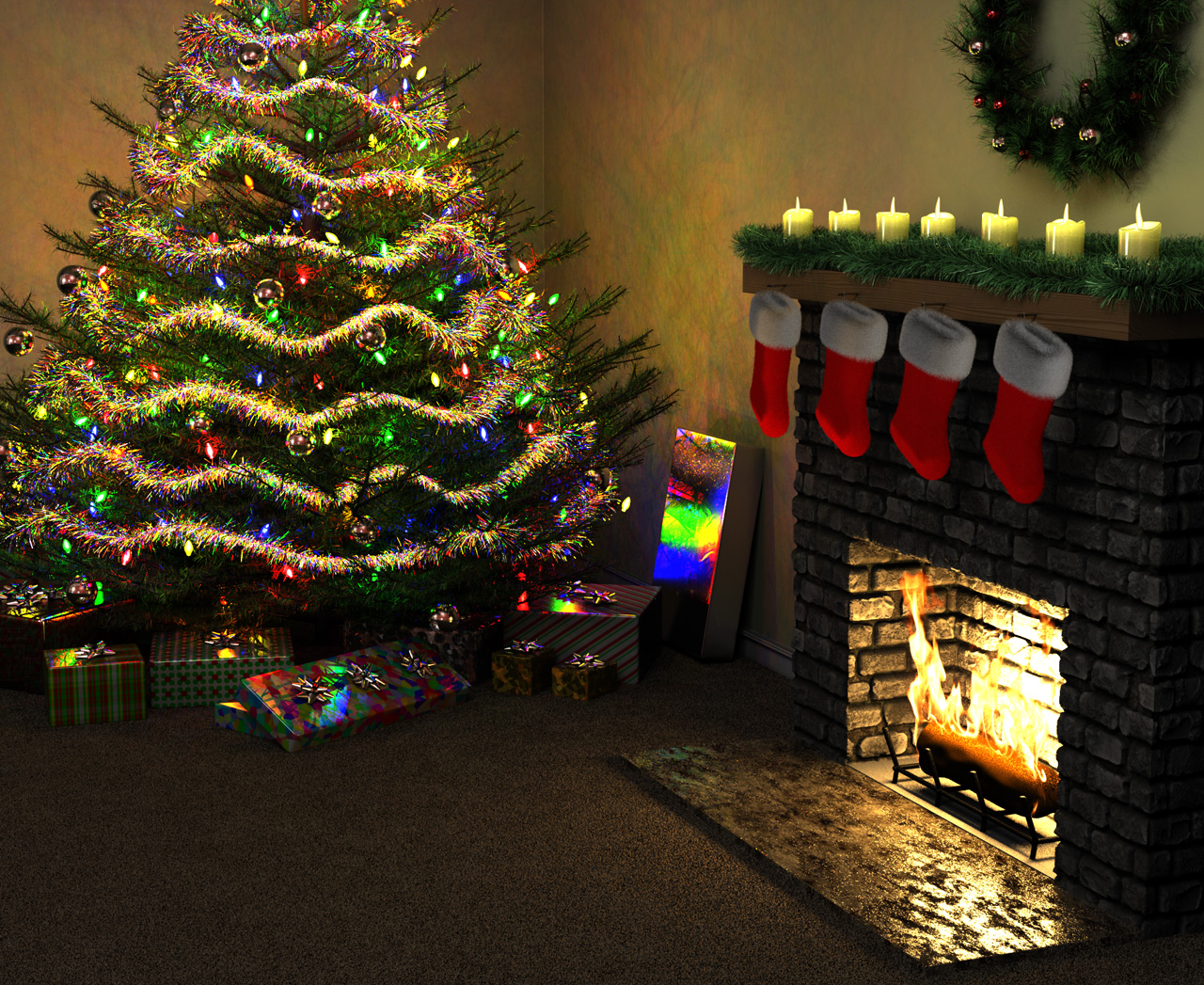 Second life marketplace prim decorated christmas tree w red